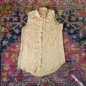 Sleeveless collared silky tunic